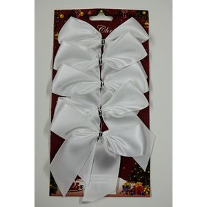 5 Satin Bows with White Twist Tie (12cm) - White