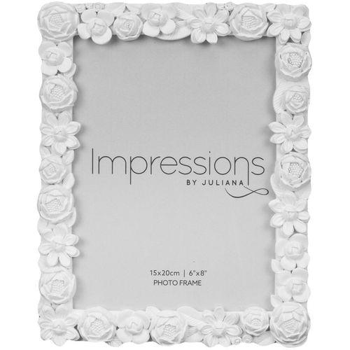 "Juliana Impressions White Resin Floral Photo Frame 6"" x 8"""