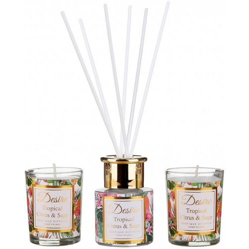 Desire Reed Diffuser & Candles Gift Set: Tropical Citrus & Sage