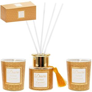 Desire Reed Diffuser & Candles Gift Set: Salted Caramel