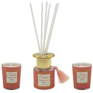 Desire Reed Diffuser & Candles Gift Set: Pomegranate Noir