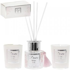 Desire Reed Diffuser & Candles Gift Set: White Lily