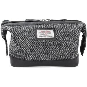 Harris Tweed Travel Wash Bag Leather Trim: Grey Herringbone