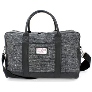 Harris Tweed Travel Holdall: Grey Herringbone