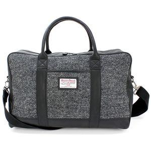 Harris Tweed Travel Holdall Leather Trim: Grey Herringbone