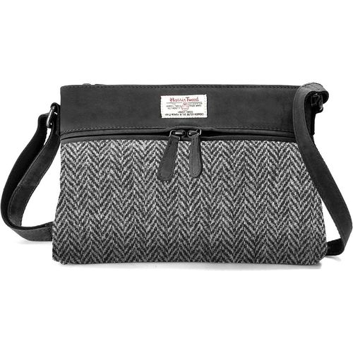 Harris Tweed Handbag leather Trim: Grey Herringbone