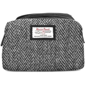 Harris Tweed Make Up & Cosmetic Bag: Grey Herringbone