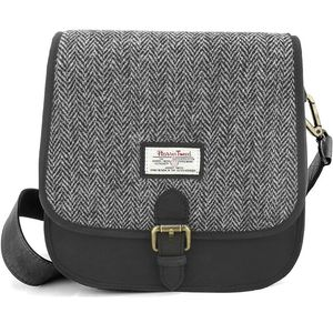 Harris Tweed Saddle Bag: Grey Herringbone