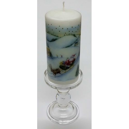 Reversible Glass Pillar or Dinner Candle Holder -  Large: Height 14cm
