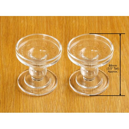 Pair of Reversible Glass Pillar or Dinner Candle Holders - Small: Height 8.8cm