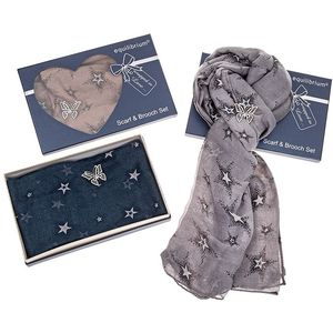 Equilibrium Stars Scarf & Butterfly Brooch Set - Grey