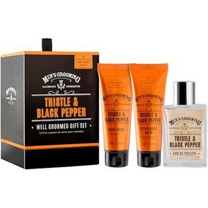 Scottish Fine Soaps Mens Grooming Well Groomed Gift Set - Thistle & Black Pepper