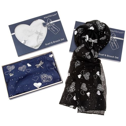 Equilibrium Hearts Scarf & Dragonfly Brooch Set White