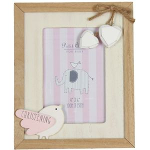 "Petit Cheri Baby Christening Photo Frame 4"" x 6"" - Pink"