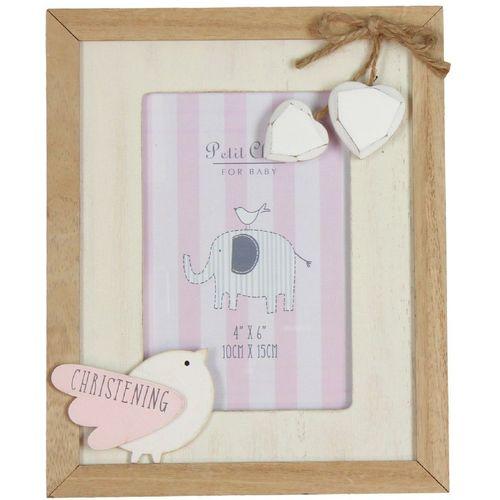 "Petit Cheri Christening Photo Frame 4"" x 6""  - Pink"