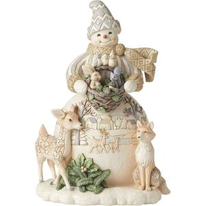 Heartwood Creek White Woodland Snowman Statue Figurine
