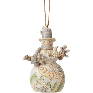Heartwood Creek Hanging Ornament - White Woodland Snowman with Branch & Animal