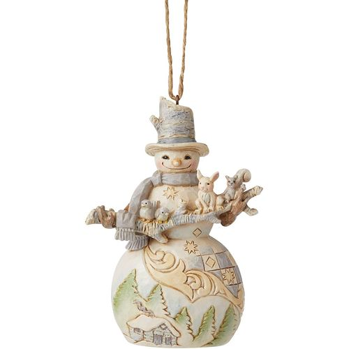 Heartwood Creek Hanging Ornament - Snowman with Branch & Animals 6006587