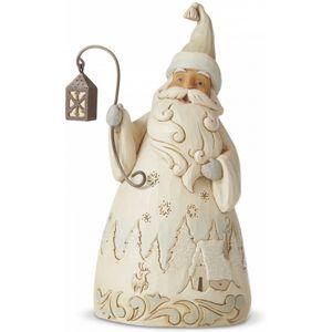 Heartwood Creek White Woodland Santa Figurine - Laughter Makes the Season Bright