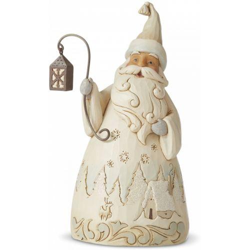 Heartwood Creek White Woodland Santa Figurine - Laughter Makes the Season Bright 6006584