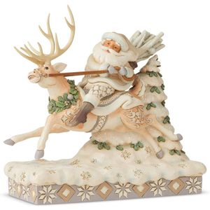 Heartwood Creek White Woodland Santa Figurine - On Course for Christmas