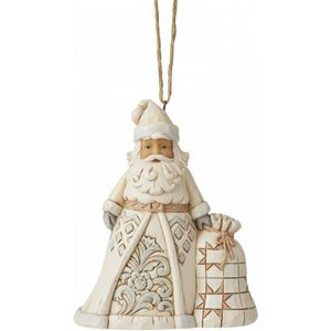 Heartwood Creek White Woodland Hanging Ornament - Santa with Sack