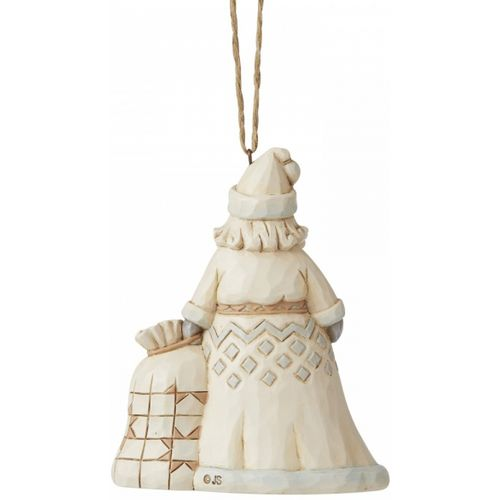 Heartwood Creek White Woodland Hanging Ornament - Santa with ChristmasTree