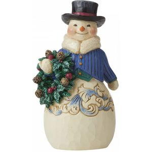 Heartwood Creek Snowman Figurine (Pint Size) - Right Hearty Winter Wishes