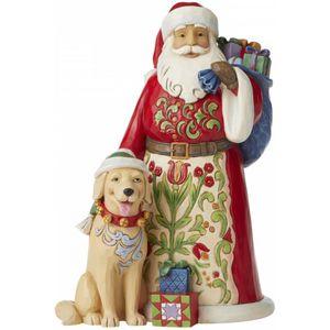 Heartwood Creek Santa Figurine - Festive Furry Friendship (Santa with Dog)