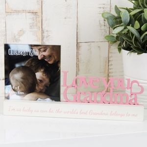 "Celebrations Sentiment Word Block Photo Frame 4x4""- Love You Grandma"