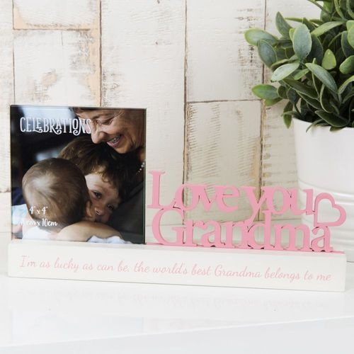 "Celebrations Sentiment Word Block Photo Frame 4"" x 4""- Love You Grandma"