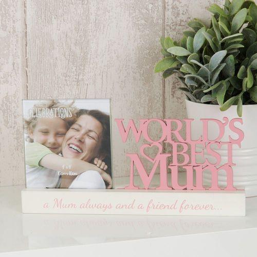 "Celebrations Sentiment Word Block Photo Frame 4"" x 4""- Worlds Best Mum"