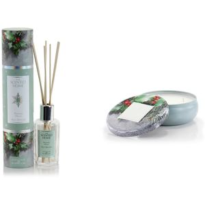 Ashleigh & Burwood Scented Home Reed Diffuser & Candle Set - Frosted Holly