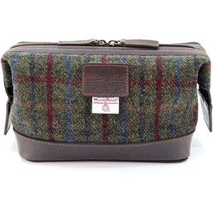 Harris Tweed Travel Wash Bag Leather Trim: Breanais Green