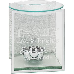 Glass & Silver Glitter Wax Melt/Oil Burner - Family
