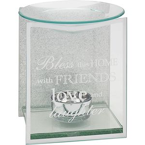 Glass & Silver Glitter Wax Melt/Oil Burner - Home