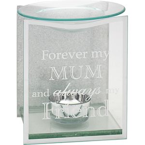 Glass & Silver Glitter Wax Melt/Oil Burner - Mum