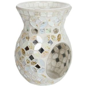 Aroma Wax Melt Burner: Cream & Gold Metallic Mosaic