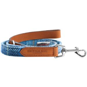 Harris Tweed Slim Dog Lead: Castle Bay Blue Tartan