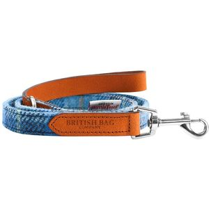 Harris Tweed Wide Dog Lead: Castle Bay Blue Tartan