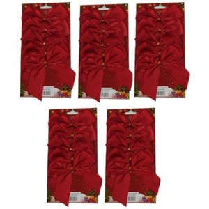 25 Satin Bows with Gold Twist Tie (12cm) - Red