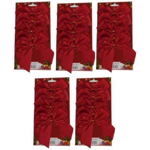 Red Satin Bows with Gold Twist Tie (12cm) Pack of 25 - Red
