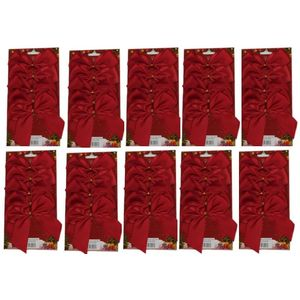 50 Satin Bows with Gold Twist Tie (12cm) - Red