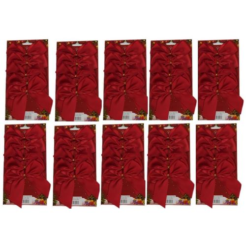 Red Satin Bows with Gold Twist Tie (12cm) Pack of 50 - Red