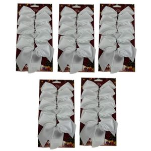 25 Satin Bows with White Twist Tie (12cm) - White