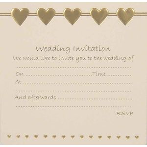 Wedding Invitations - Gold Hearts design x10