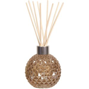 Aroma Glass Reed Diffuser Bottle & 50 Rattan Reeds - Amber Lustre