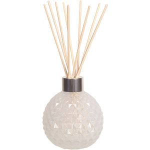 Aroma Glass Reed Diffuser Bottle & 50 Rattan Reeds - White Lustre