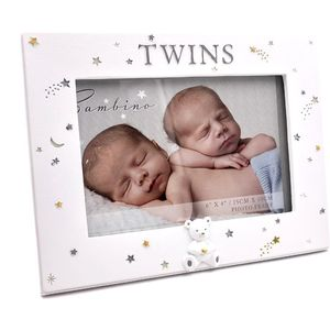"Bambino Resin Photo Frame 6"" x4"" - Twins"