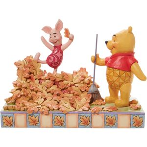 Disney Traditions Jumping into Fall (Piglet and Pooh) Autum Leaves Figurine
